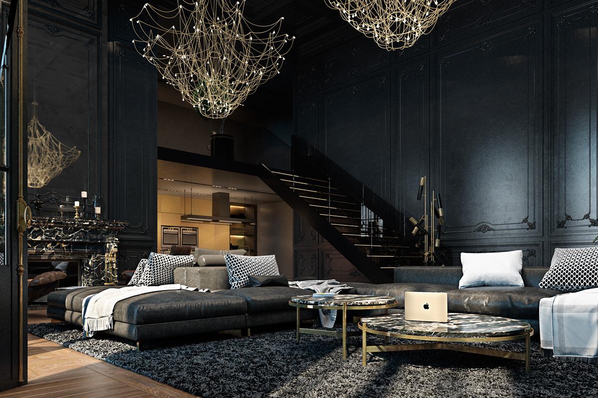 černý interiér