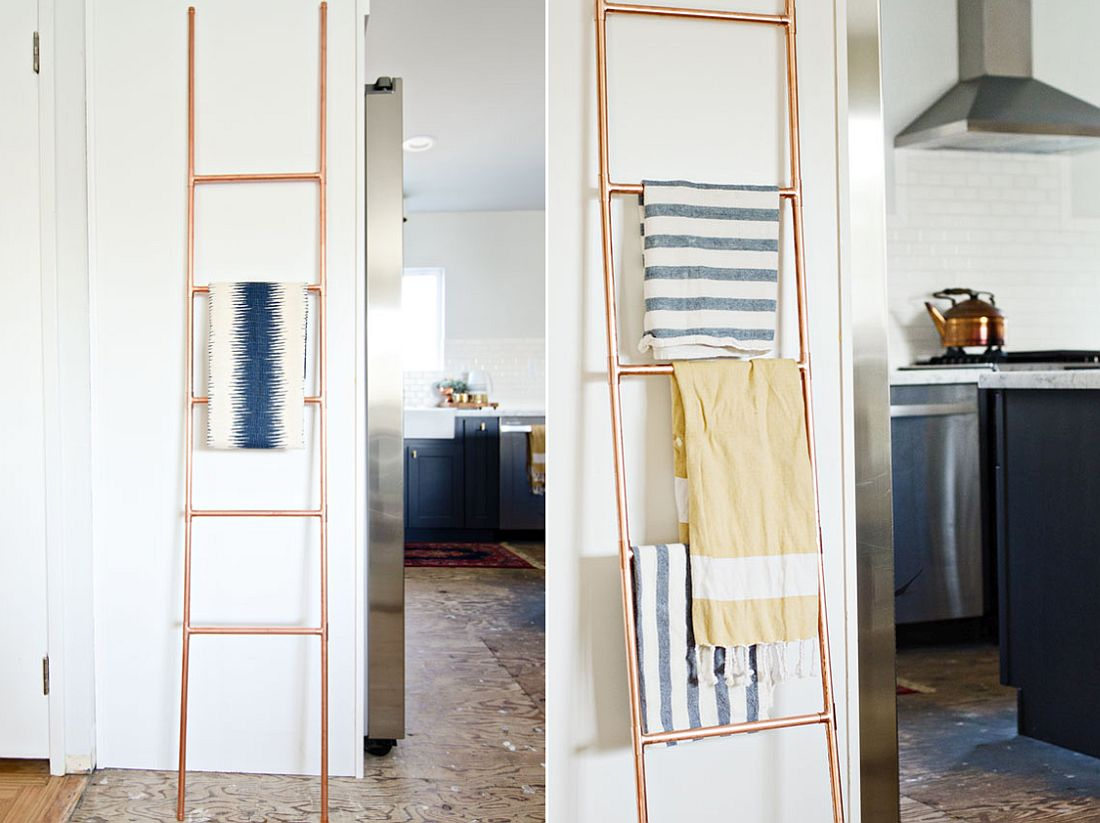 DIY-Copper-Pipe-Ladder-used-as-towel-holder