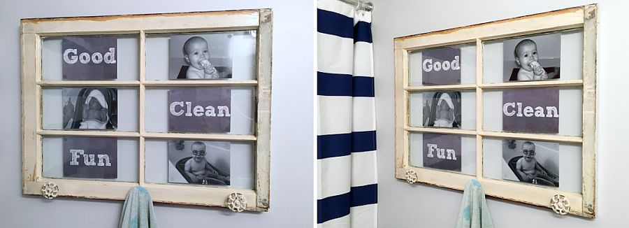 Old-window-turned-into-a-lovely-towel-holder-with-personal-photographs